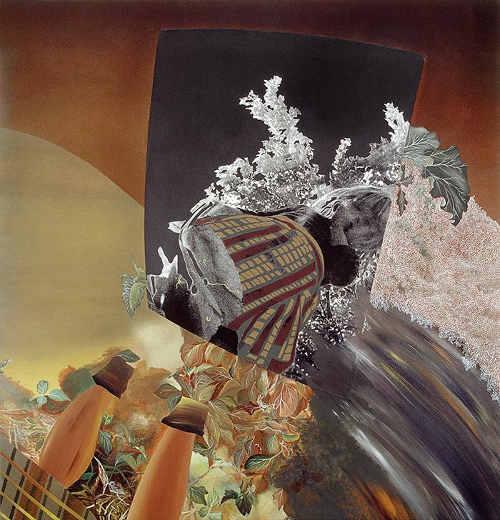 Untitled, 1984,plywood,acrylic, photo, airbrush, 100X100cm