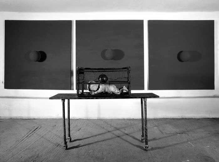 J'ai vu le soleil bas taché d'horreurs mystiques , 1996 plywood, 3 ceramic spheres, 3 motors, 160 X 490 cm