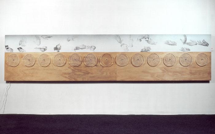 The Last Supper,1994, plywood, airbrush, silkscreen, plexiglas,13 motors, 80X370cm