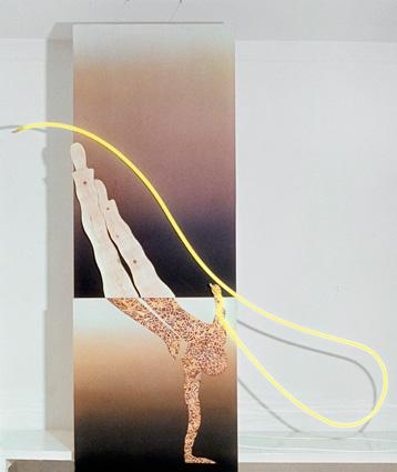 Le Bonhomme, 1979, plywood, wood, acrylic, neon, 176x64 cm